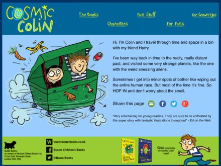 Cosmic Colin publishing mini-site for Buster Books