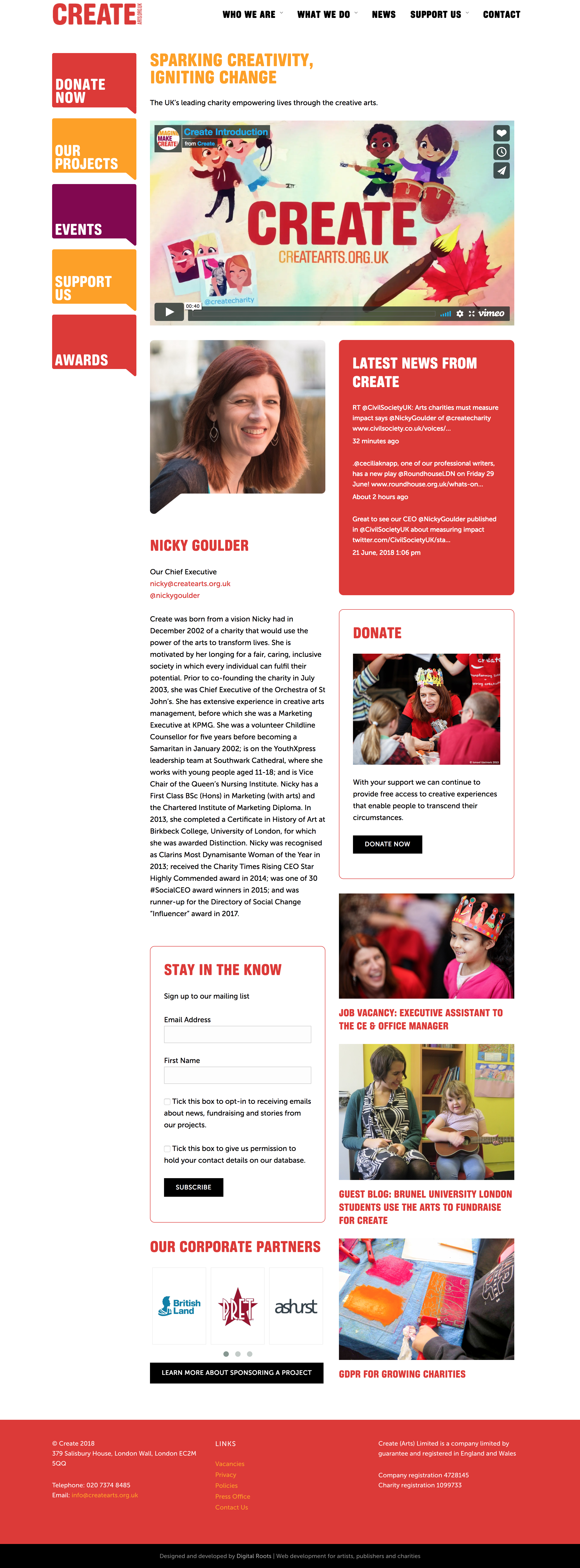 Preview of charity website for CREATE Arts, London