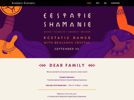 Ecstatic Shamanic Event Website, London