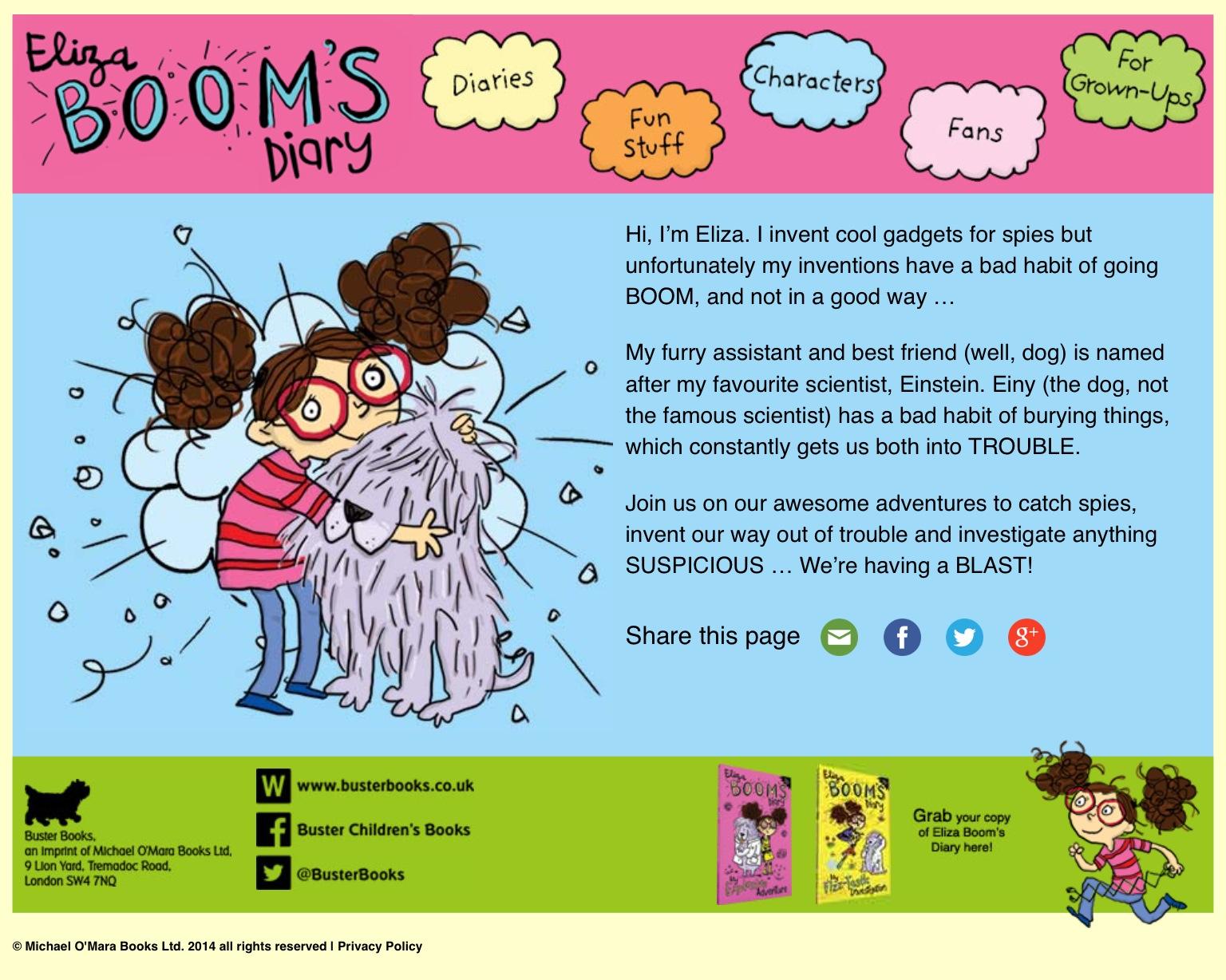Eliza Boom publishing mini-site for Buster Books
