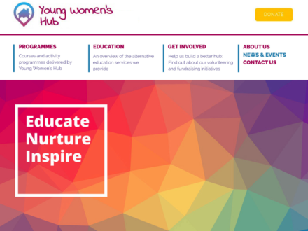 Charity website for Young Women's Hub, Lewisham