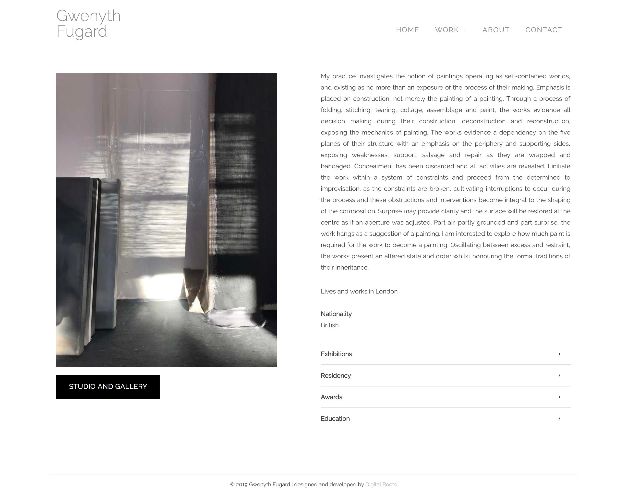 Fine Art Website for London Artist, Gwenyth Fugard